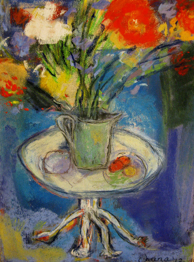 Big Red Flowers In A Pale Green Vase  Painting