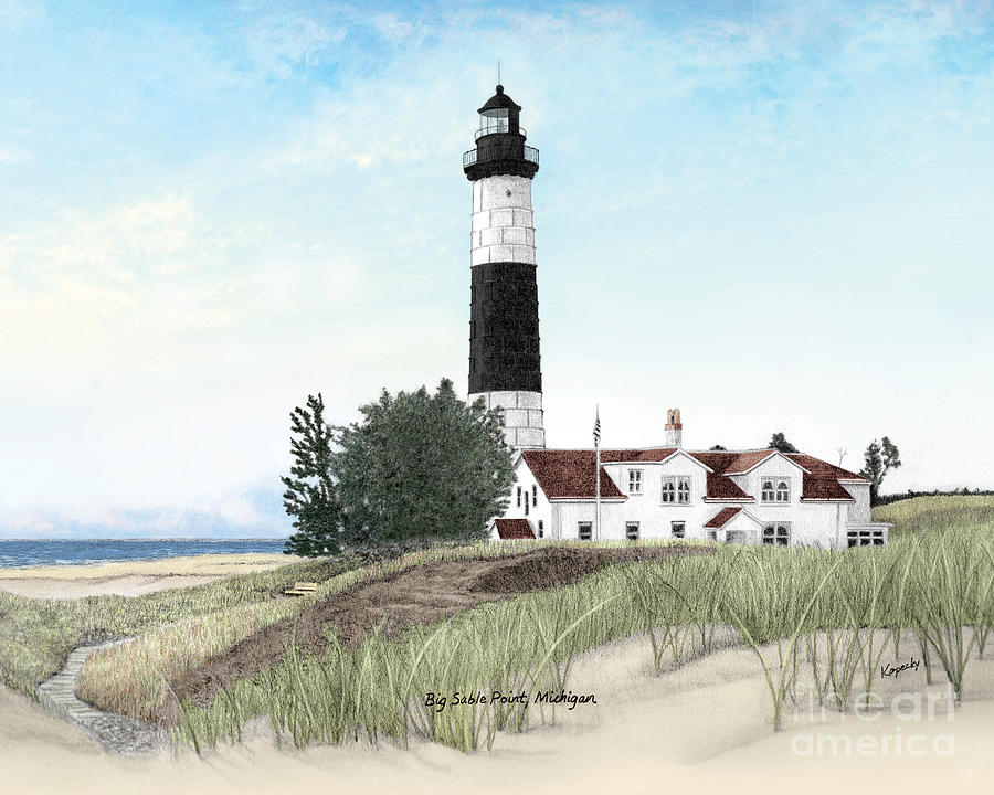 Big Sable Point Lighthouse Titled Drawing