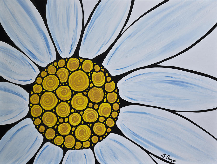 Big White Daisy Painting  - Big White Daisy Fine Art Print