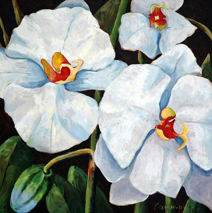 Orchid Painting - Big White Orchids - Floral Art By Betty Cummings by Sharon Cummings
