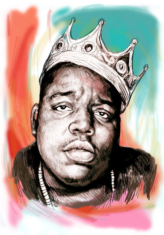 Biggie Smalls Colour Drawing Art Poster Painting  - Biggie Smalls Colour Drawing Art Poster Fine Art Print
