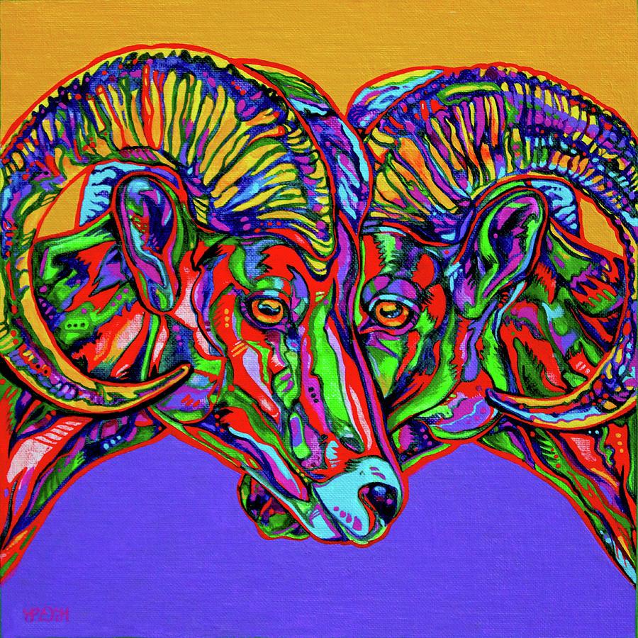 Contemporary Art Painting - Bighorn Sheep by Derrick Higgins