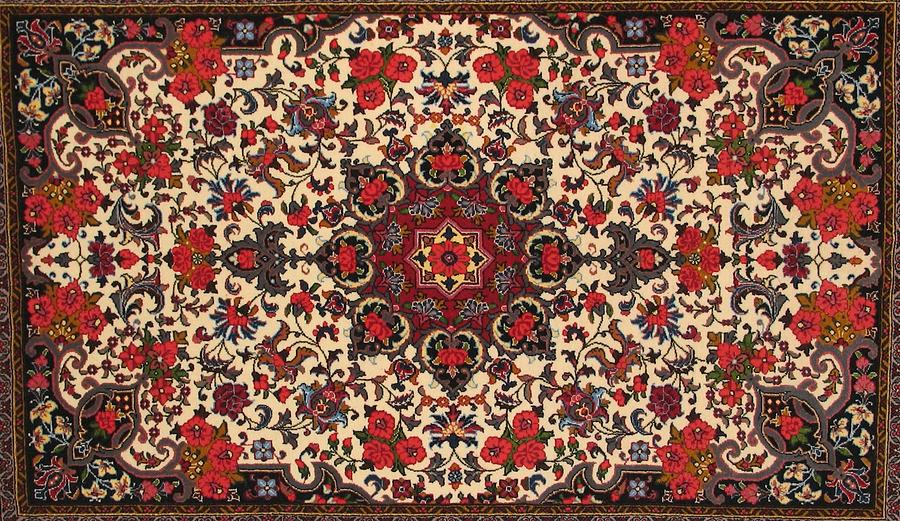 Bijar Carpet Photograph - Bijar Red And Cream Silk Carpet Persian Art Poster by Persian Art
