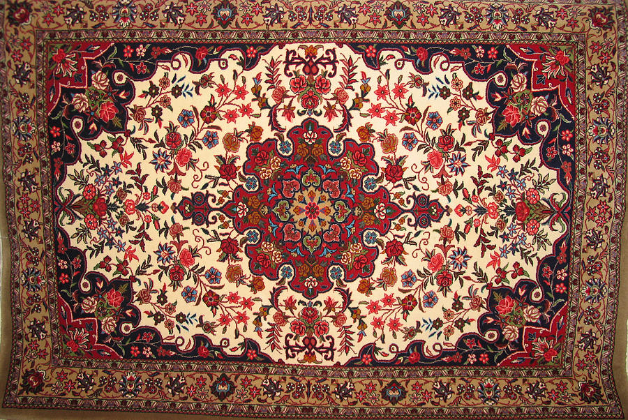 Bijar Red And Khaki Silk Carpet Persian Art Photograph  - Bijar Red And Khaki Silk Carpet Persian Art Fine Art Print