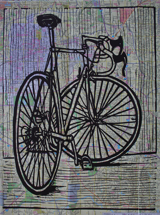 Bike Drawing - Bike 4 On Map by William Cauthern