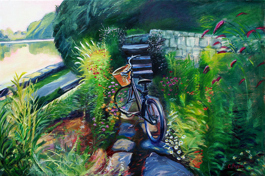 Bike In The Butterfly Garden Painting  - Bike In The Butterfly Garden Fine Art Print