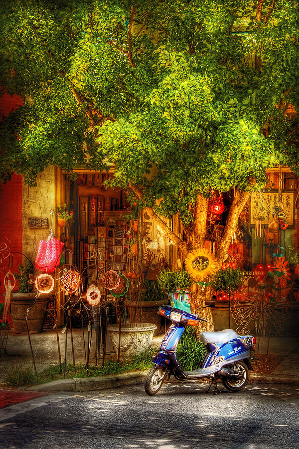 Urban Photograph - Bike - Scooter - Sitting Amongst Urban Flowers by Mike Savad
