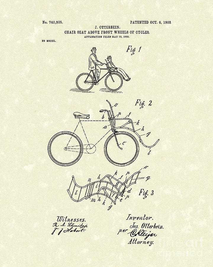 Bike Seat 1903 Patent Art Drawing  - Bike Seat 1903 Patent Art Fine Art Print