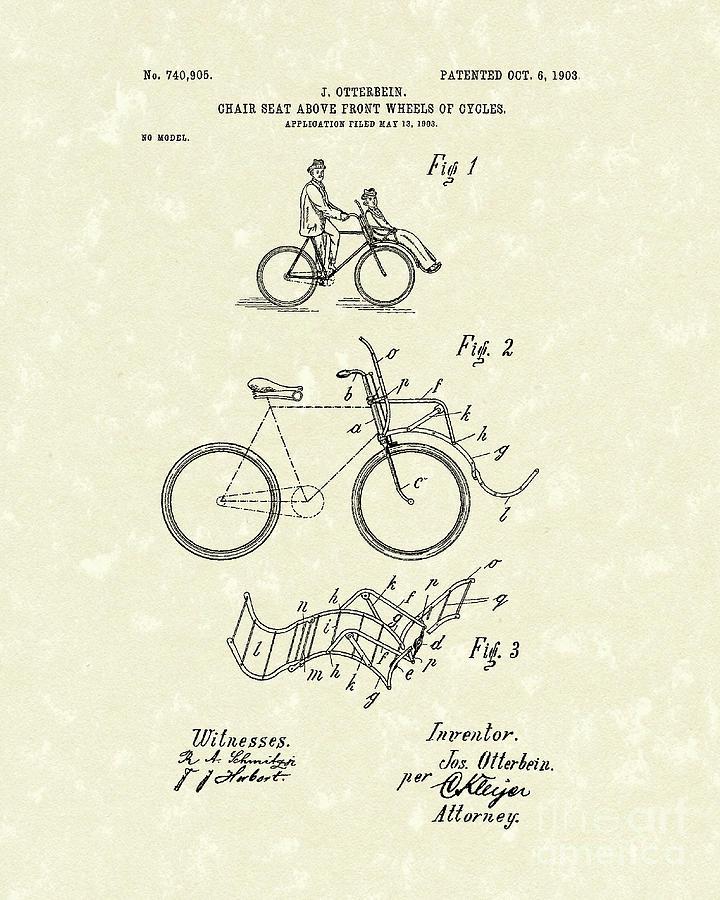 Bike Seat 1903 Patent Art Drawing