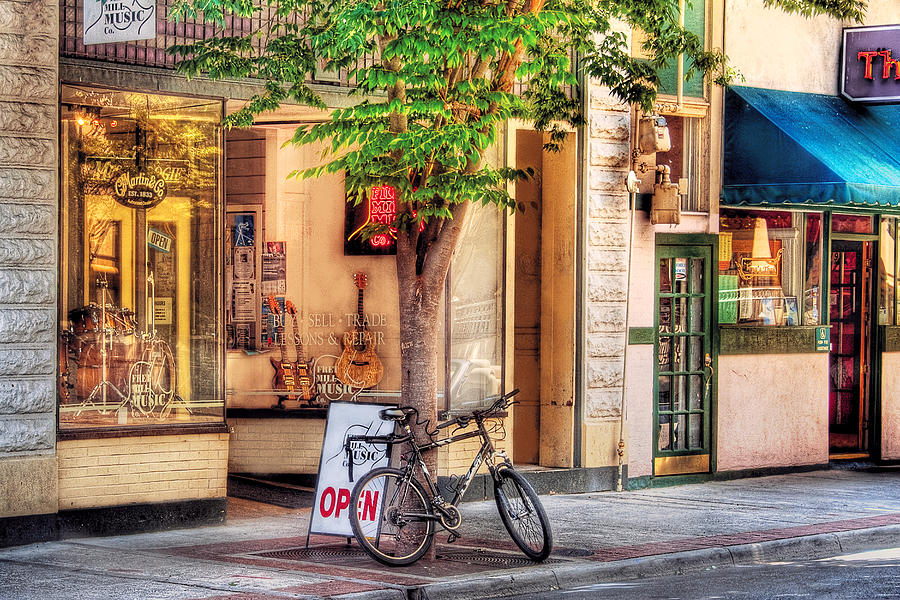 Savad Photograph - Bike - The Music Store by Mike Savad