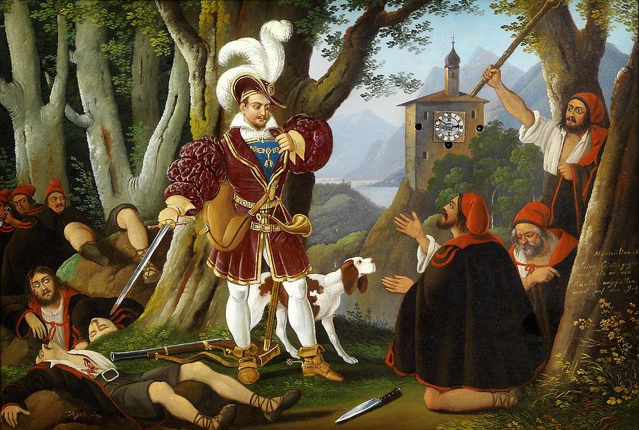Bilderuhr Maximilian I Mit Den Raubern Painting