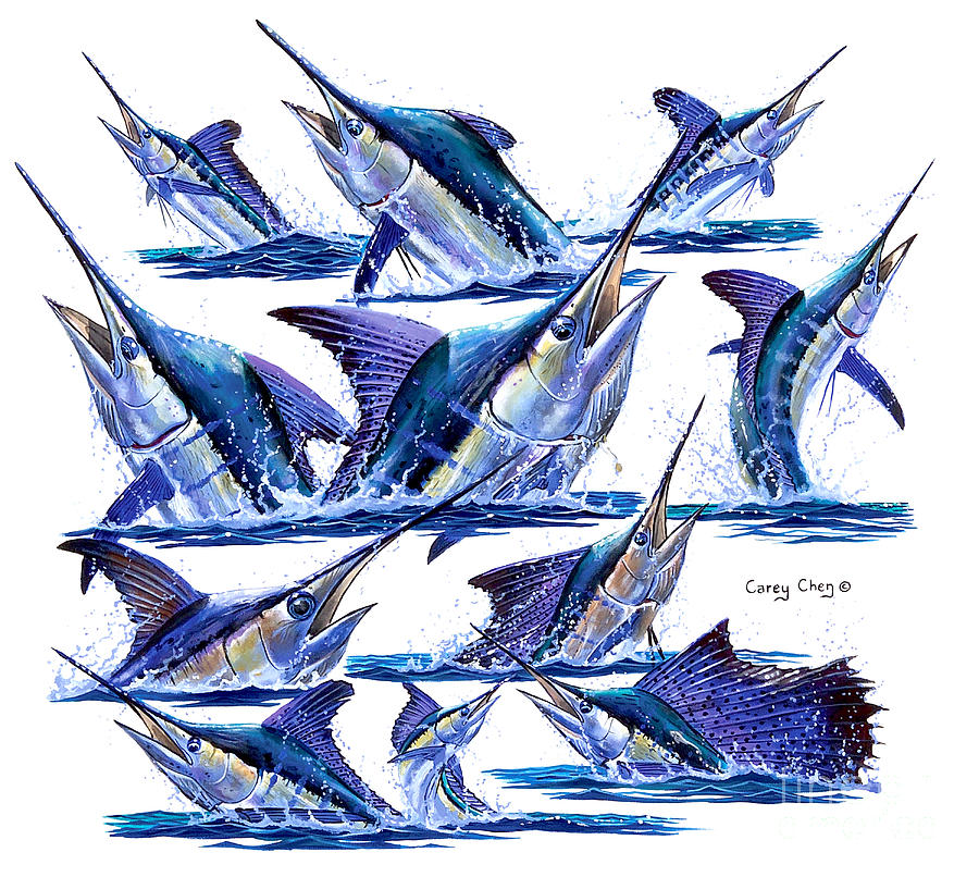 Billfish Painting - Bill Heads by Carey Chen