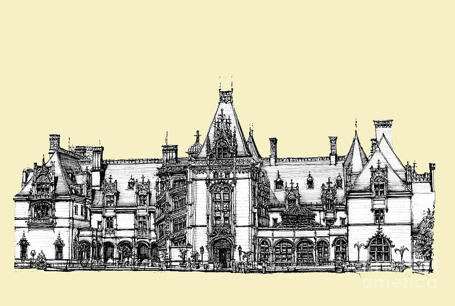 Biltmore Estate In Asheville Drawing  - Biltmore Estate In Asheville Fine Art Print