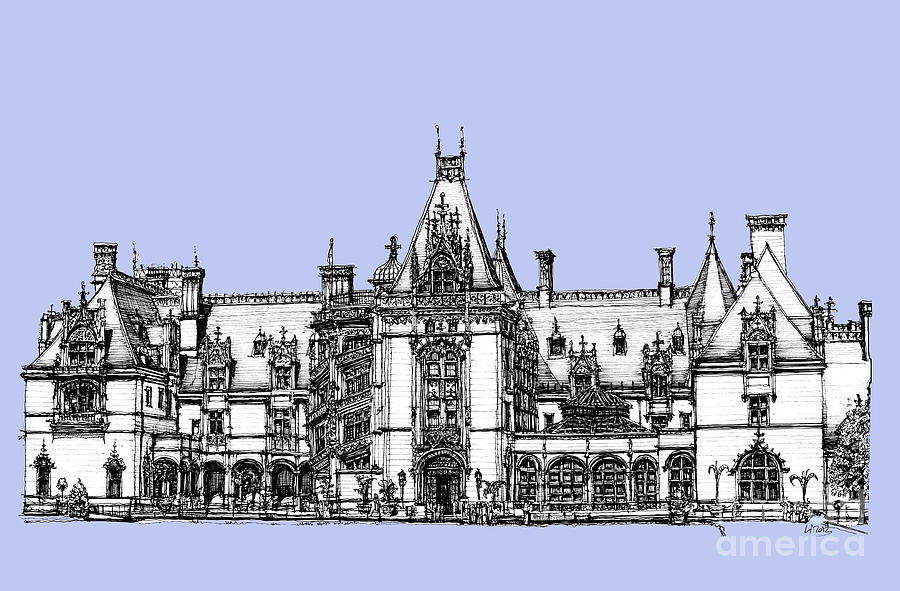 Biltmore Estate In Light Blue Drawing
