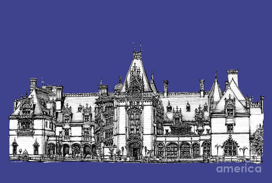 Biltmore Estate In Royal Blue Drawing