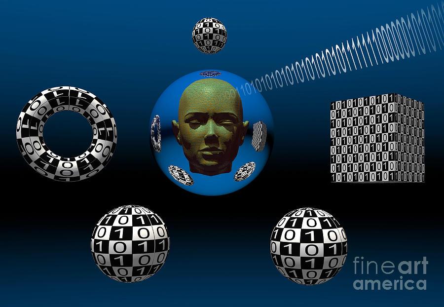 Horizontal Digital Art - Binary Language, A Universal Means by Mark Stevenson