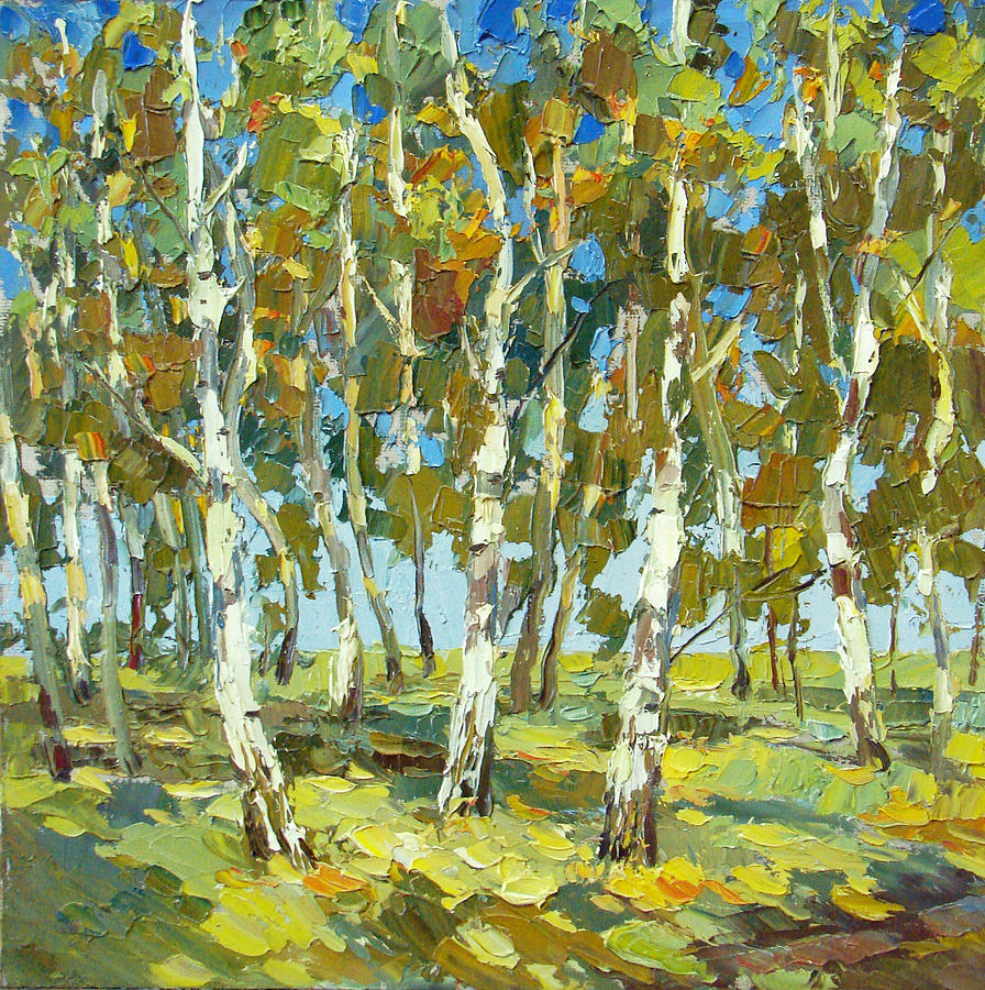 Birch Forest Painting  - Birch Forest Fine Art Print