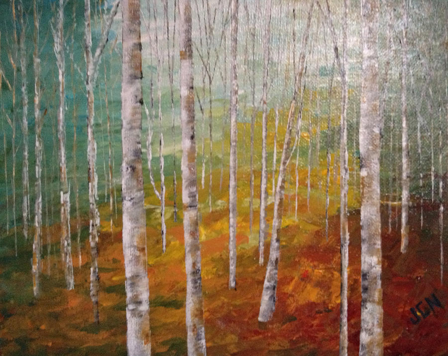 Birch Trees #4 Painting  - Birch Trees #4 Fine Art Print