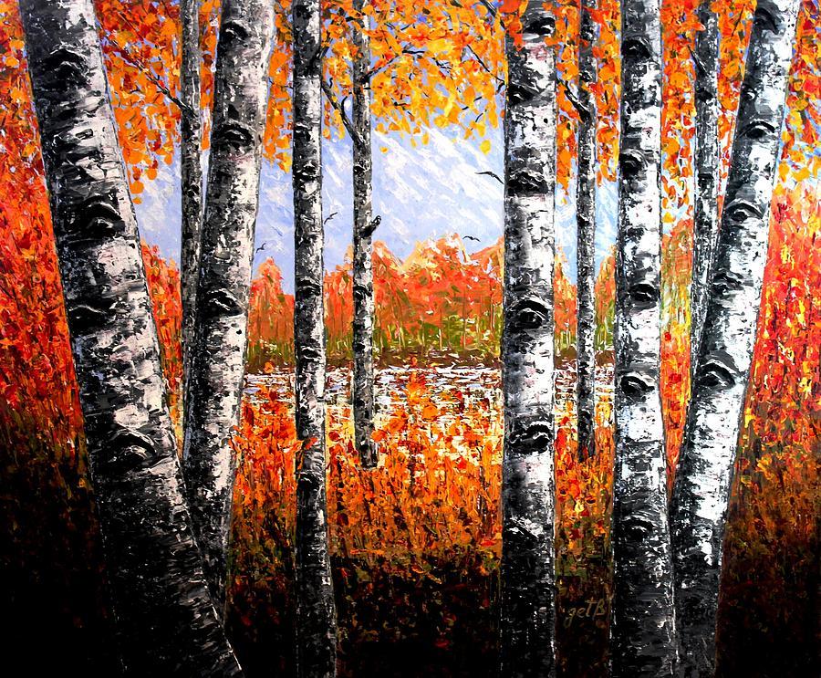 Birches Forest Palette Knife Painting Georgeta Blanaru