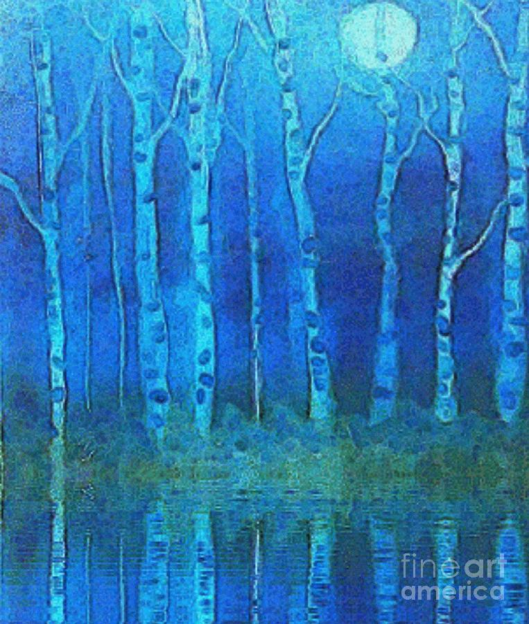 Birches In Moonlight Painting  - Birches In Moonlight Fine Art Print
