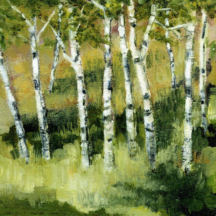 Birches On A Hill Painting