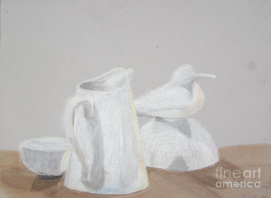 Bird And Pitcher Pastel  - Bird And Pitcher Fine Art Print