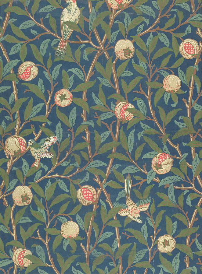 Arts And Crafts Movement Tapestry - Textile - Bird And Pomegranate by William Morris