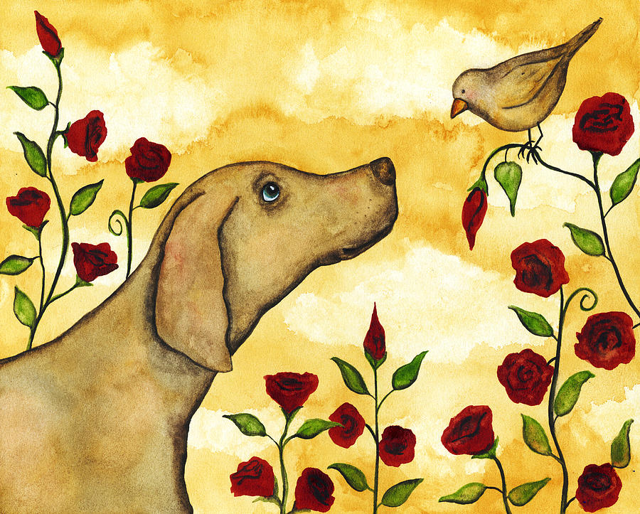 Bird Dog Pets Rose Floral Flower Whimsical Folk Debi Hubbs Art By