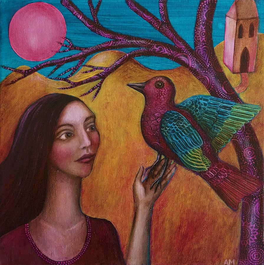 Woman And Bird Painting - Bird In Hand by Alice Mason