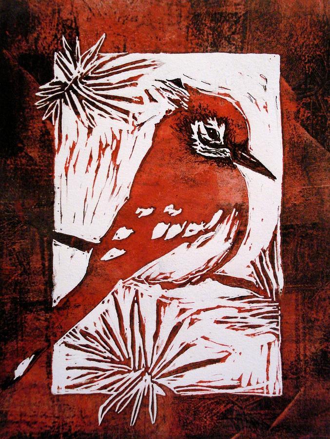 Bird Linocut 2 Relief