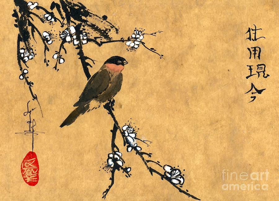Bird; Plum Flower Painting - Bird On White Plum Branch by Linda Smith