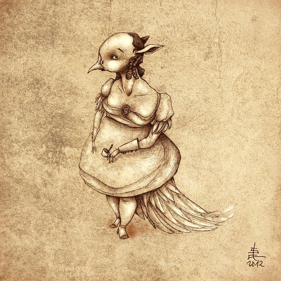 Bird Woman Painting  - Bird Woman Fine Art Print
