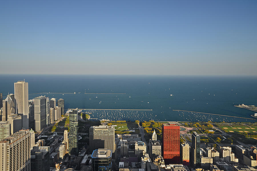 Birds Eye View Of Chicagos Lakefront Photograph  - Birds Eye View Of Chicagos Lakefront Fine Art Print