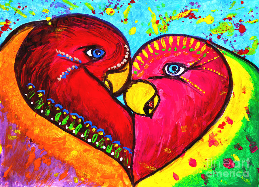 Birds In Love Pop Art Painting By Julia Fine Art And