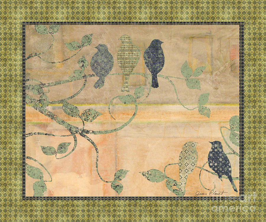 Birds On Branches Mixed Media  - Birds On Branches Fine Art Print