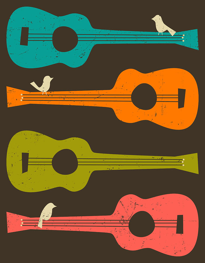 Birds On Guitar Strings Digital Art