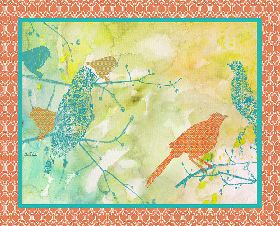 Birds On Watercolor-b Painting