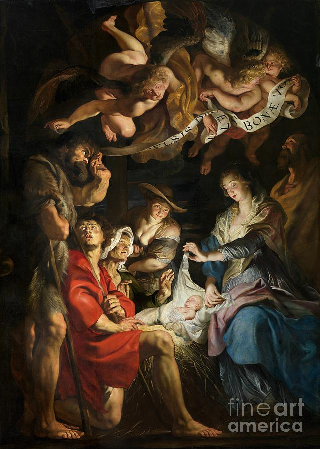 Birth Of Christ Adoration Of The Shepherds Painting  - Birth Of Christ Adoration Of The Shepherds Fine Art Print