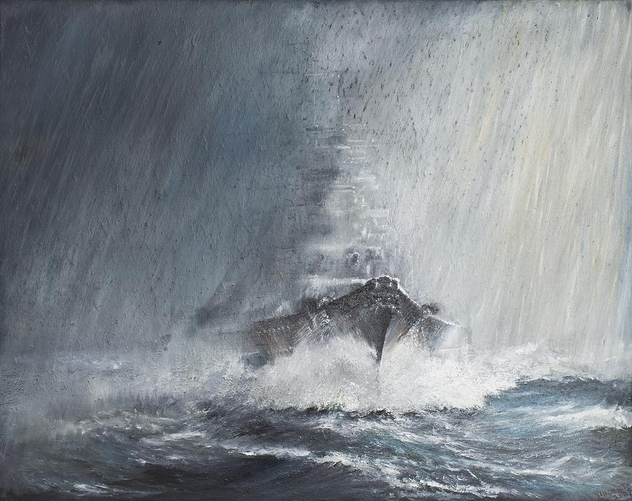 Bismarck Through Curtains Of Rain Painting By Vincent