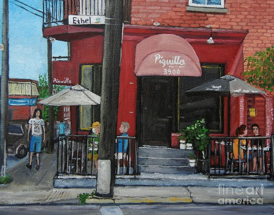 Bistro Piquillo In Verdun Painting by Reb Frost