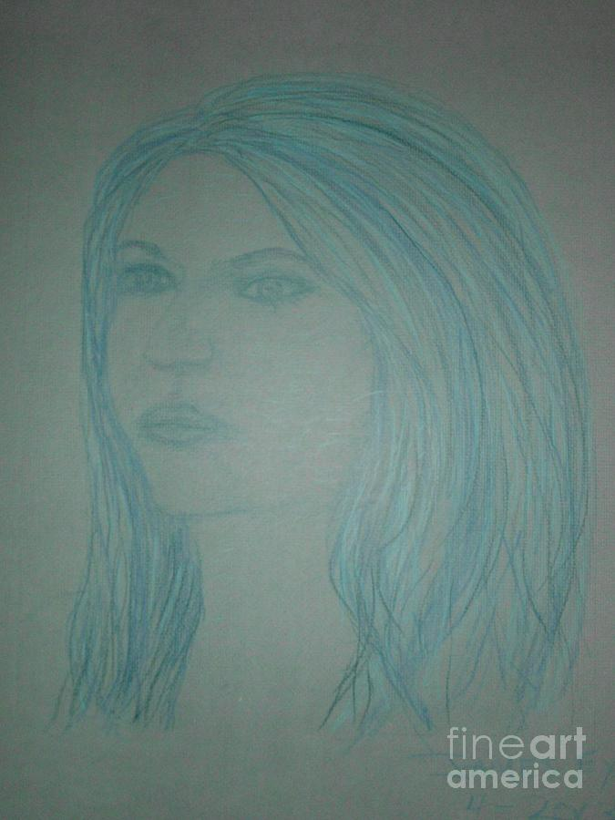 Art By James Eye Drawing - Biviana In Blue by James Eye
