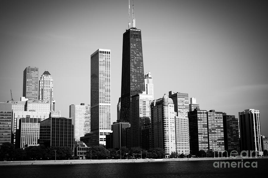 Black And White Chicago Skyline With Hancock Building Photograph