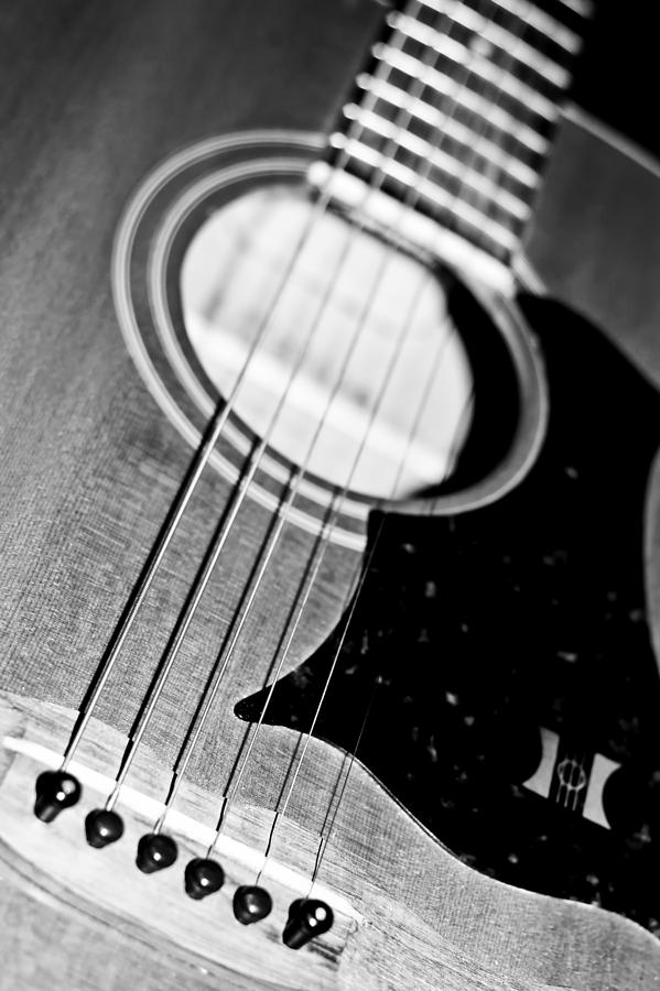 Black And White Harmony Guitar Photograph