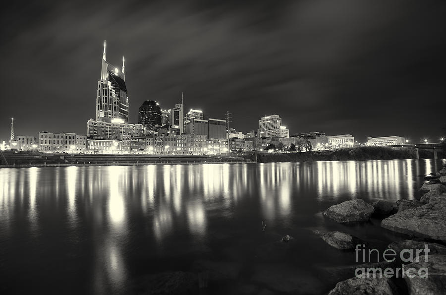 Nashville Photograph - Black And White Image Of Nashville Tn Skyline  by Jeremy Holmes