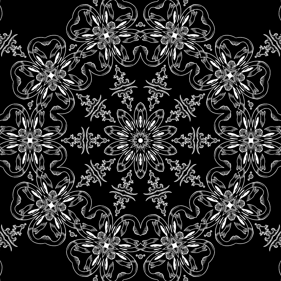 Intricate Mixed Media - Black And White Medallion 11 by Angelina Vick