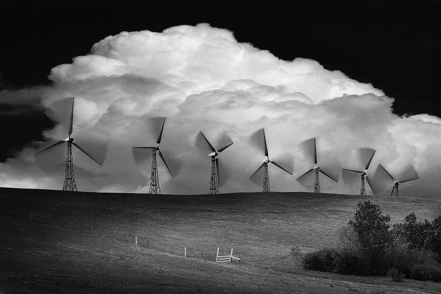 Black And White Of Wind Generators With Photograph  - Black And White Of Wind Generators With Fine Art Print