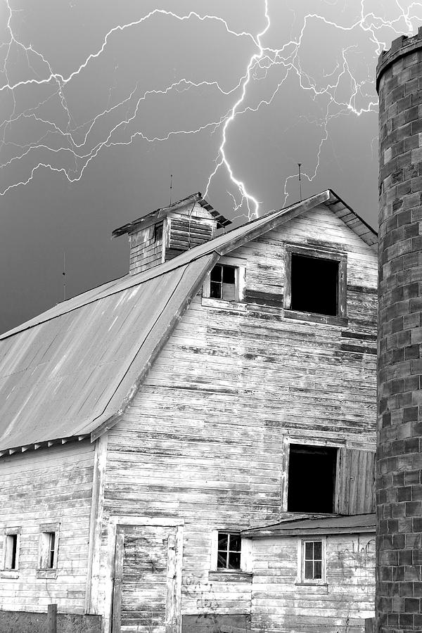 Black And White Old Barn Lightning Strikes Photograph