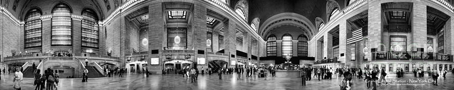 Black And White Pano Of Grand Central Station - Nyc Photograph
