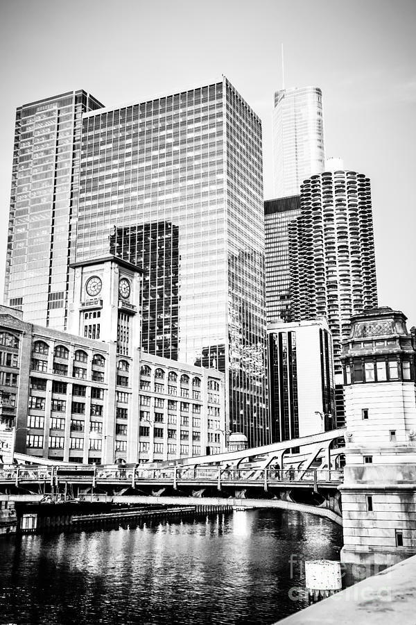 Black And White Picture Of Chicago At Lasalle Bridge Photograph  - Black And White Picture Of Chicago At Lasalle Bridge Fine Art Print