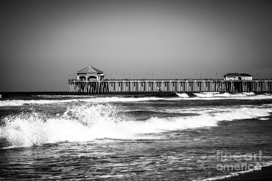Black And White Picture Of Huntington Beach Pier Photograph  - Black And White Picture Of Huntington Beach Pier Fine Art Print